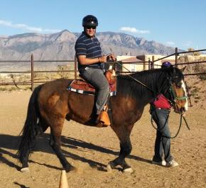 A man rides a Loving Thunder therapy horse